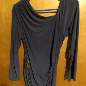 Venus grey dress with ruching and embellishments